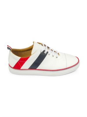Diagonal Stripe Canvas & Leather Low-Top Sneakers