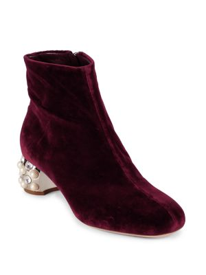 Velvet Jeweled Heel Booties