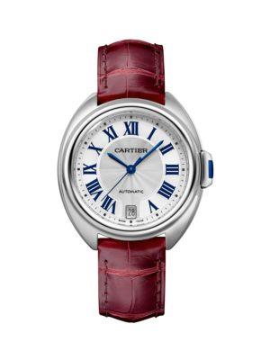 Clé de Cartier Stainless Steel & Red Alligator-Strap Watch/35MM