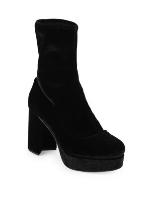 Stretch Velvet Platform Booties