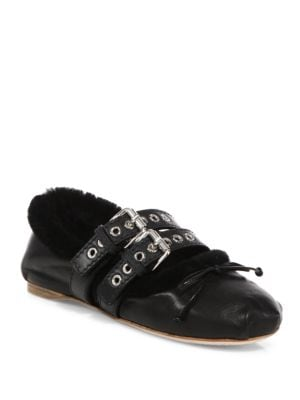 Double-Strap Leather & Shearling Ballet Flats