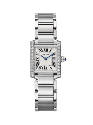 CARTIER | Tank Francaise De Cartier Diamond & Stainless Steel Small Bracelet Watch | Goxip