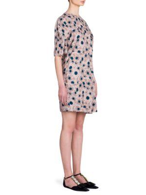 Floral-Print Crewneck Dress
