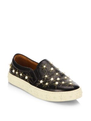 COSMIC EMBELLISHED EMBROIDERED LEATHER SLIP-ON SNEAKERS