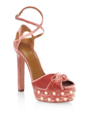 Harlow Velvet Pearls Platform Sandals