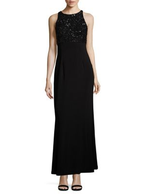Sequined Jersey Halter Gown