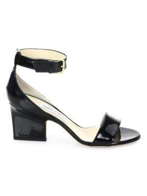 Edina Patent Leather Ankle-Strap Sandals