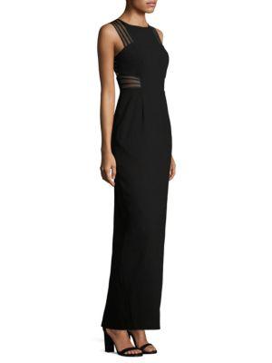 Jewelneck Sleeveless Back-Slit Gown