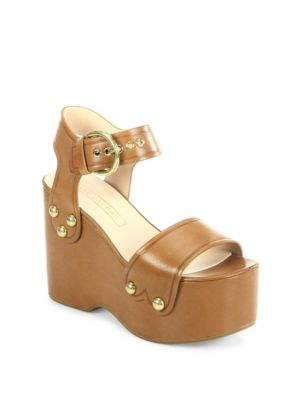 Lana Leather Wedge Sandals