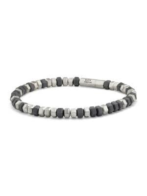 Hex Sterling Silver Beaded Bracelet