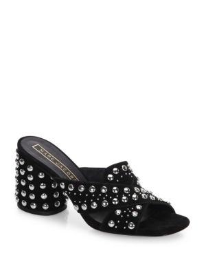 Aurora Leather Studded Crisscross Sandals