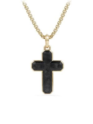 Forged Carbon 18K Yellow Gold Cross Pendant