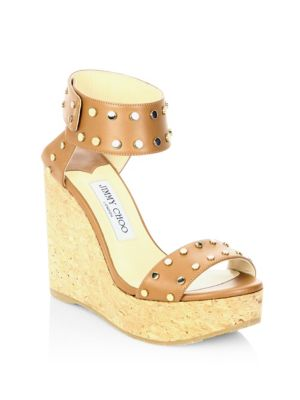 Nellie 100 WXW Studded Leather Cork Wedge Sandals