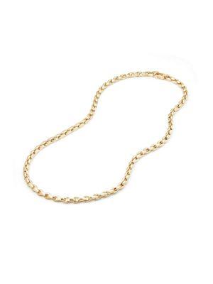18K Yellow Gold Elongated Box Chain Necklace