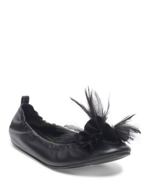 Beaded Feather Accented Ballet Flats