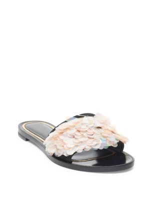 Pailette Leather Slide Sandals