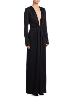 Satin Deep V-Neck Gown