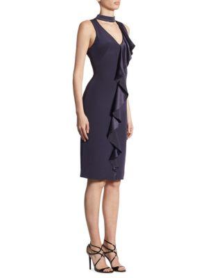 Ruffle-Front V-Neck Choker Dress