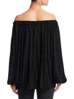 SAINT LAURENT Embellished Off-The-Shoulder Blouse in Black