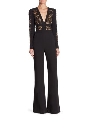 Lace-Insert V-Neck Jumpsuit