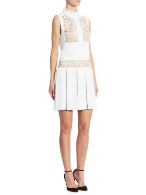 Lace-Inset Pleated Day Dress