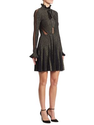 Tulle-Inset Ribbed Metallic Dress