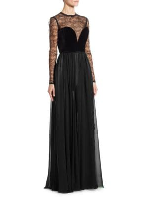 Two-Tone Lace & Crepe Georgette Gown
