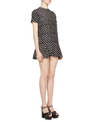 Lipstick Dot Crepe de Chine Mini Dress