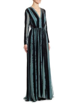 Devore Lace-Inset Velvet & Silk V-Neck Gown