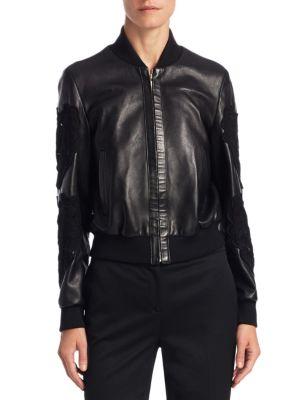 Macrame-Detail Leather Jacket