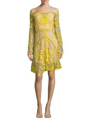 Marigold Embroidered Off-The-Shoulder Dress