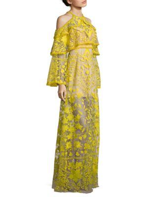 Marigold Embroidered Cold-Shoulder Maxi Dress