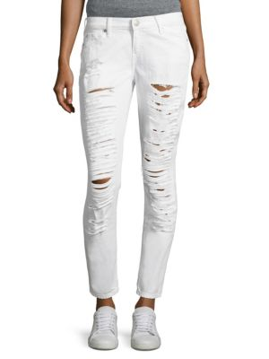 Casey Low-Rise Distressed Super Skinny Jeans
