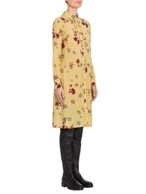 Flowers Fall Silk Tie-Neck Shirtdress