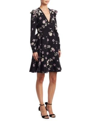 Flowers Fall Silk V-Neck Dress