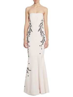 Luna Embroidered Strapless Gown
