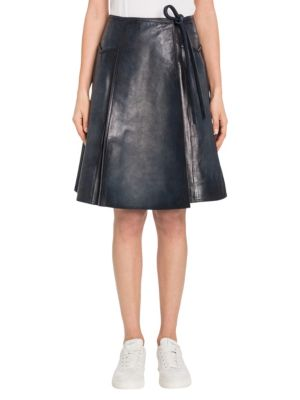 Bloched Leather Wrap Skirt