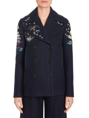 Tattoo Embroidered Wool Peacoat