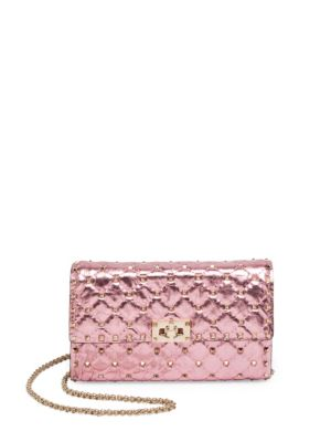 VALENTINO Rockstud Spike Metallic Leather Chain Wallet in Peacock