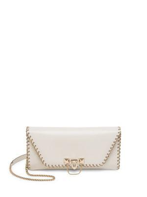 Demi Lune Chain-Trim Leather Shoulder Bag