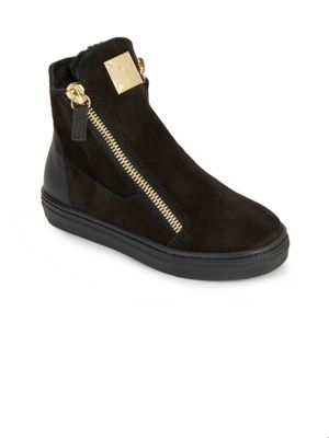 Baby's, Toddler's & Kid's Shearling Suede Double-Zip Booties