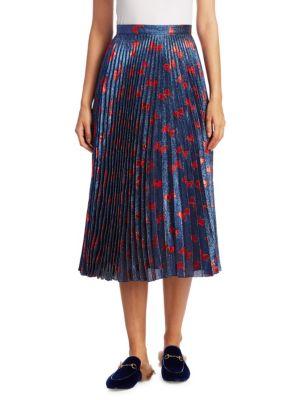 Pleated Bow-Print Skirt
