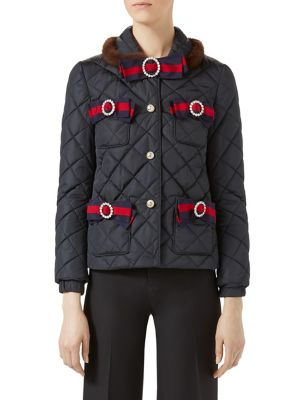 Mink-Trim Bow-Detail Quilted Jacket 0400094468503