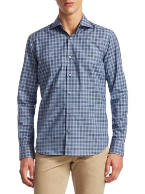 SAKS FIFTH AVENUE   COLLECTION Tonal Plaid Button-Down Shirt   Goxip