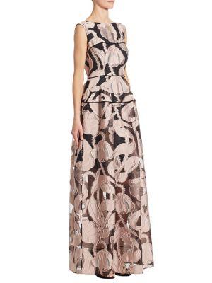 Silk Marble-Print Gown