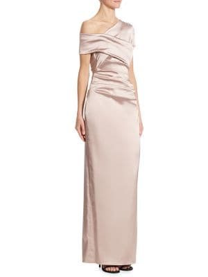 Stretch Satin One Shoulder Gown