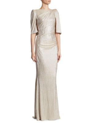 Metallic Stretch Cloque Gown