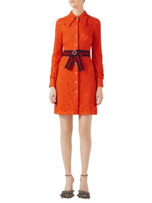 Belted Cluny Lace Shirtdress