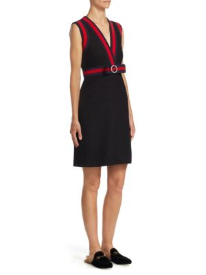 Banded Tweed A-Line Dress