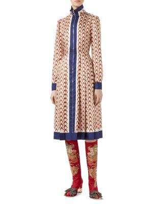 Gun-Print Silk Zip-Front Dress